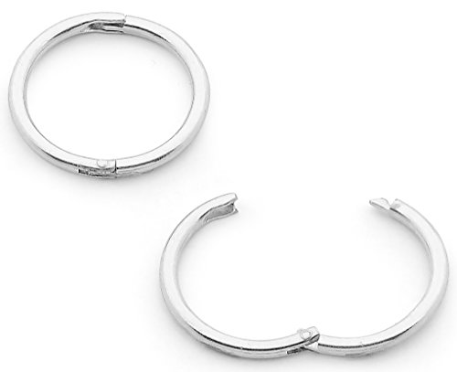 Solid Sterling Silver 8mm Hinged Hoop Sleepers Earrings Made in Australia