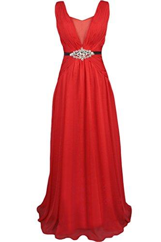 Sunvary 2016 rosso Chiffon e Wedding Reception Prom Gowns vestiti Red