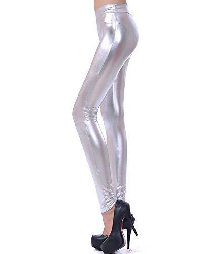 Legging Skinny Imitation Cuir pour Femme Stretch Pantalon Jegging Slim Collants Argent