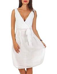 Malito Damen Leinenkleid im Klassik Design   Elegantes Cocktailkleid    schickes Abendkleid   Partykleid - A… 3d5453d421