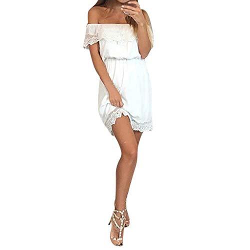 Moonuy Dame Pullover Ladies'off Schulter Kleid Frauen knielangen Mode Kleid Reine Farbe aushöhlen Jacke Oansatz Tops Kleid (Ein-schulter Ralph Kleid Lauren)