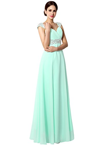 Clearbridal Women's Long Chiffon Prom Evening Party Dress A-Line Bridesmaid Gowns with Crystal Beaded SD179