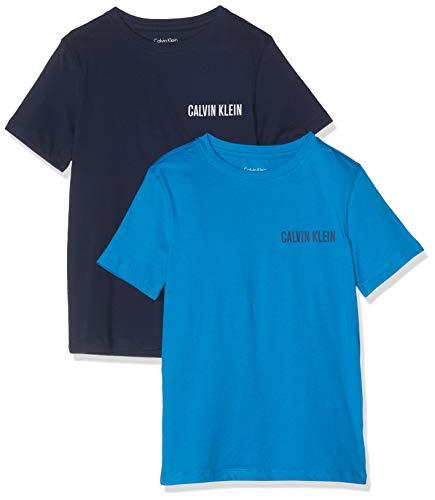 Calvin klein 2pk tees t-shirt, blau (1cloisonne/1blueshadow 430), 8 anni bambino