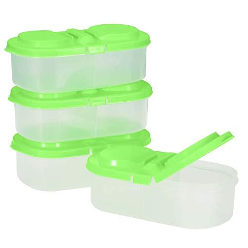 Bestonzon wiederverwendbare Frischhaltedosen aus Kunststoff mit Deckel, 2 Fächer, geeignet für Kühlschrank, für Snacks und Früchte, 4 Stück