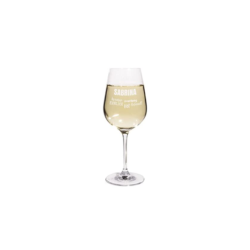 Weißweinglas mit Namen Sabrina graviert 1