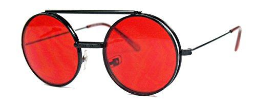 Retro Sonnenbrille oversized Lennon Flip up Style Herren Damen Metallrahmen klappbare Gläser NG (Schwarz/Rot)