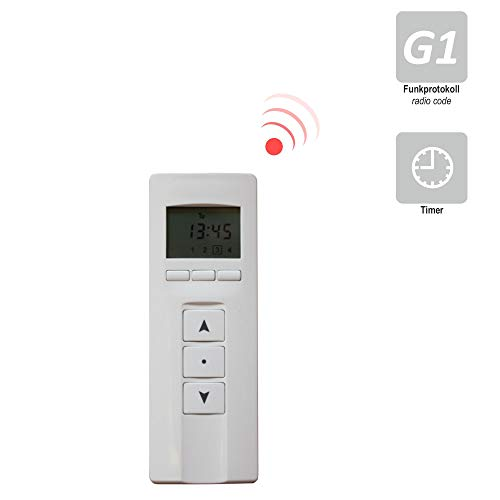 h Handfunksender/Fernbedienung/Handsender/Sender für heicko Funk-Motoren und externe Empfänger, mit Timerfunktion/Zeitschaltuhr (4-Kanal | weiß-silber | Funkprotokoll G1) (1 ST)