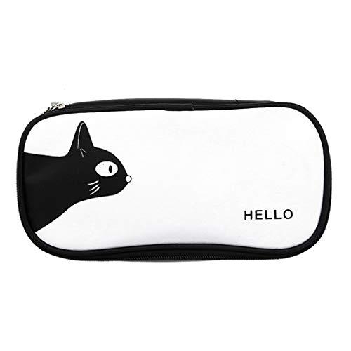 Minzhi Multifunktions-Schwarz-weiße Zebra-Katze Bär PU-Leder-Bleistift-Kasten-Jungen-Mädchen-Feder-Kasten Studenten Pencilcase