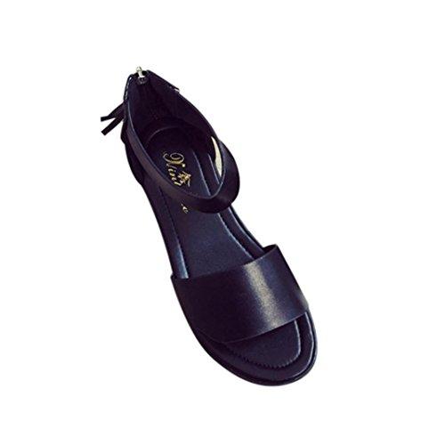 Transer® Damen Draußen Drinnen Flach Sandalen PU-Leder+Gummi Sandalen (Bitte achten Sie auf die Größentabelle. Bitte eine Nummer größer bestellen. Vielen Dank!) Schwarz