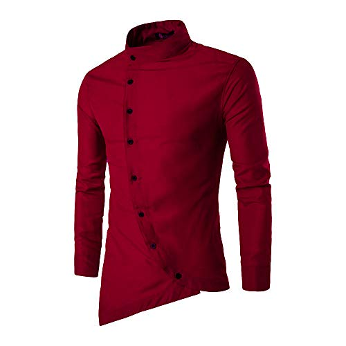 Jeevaan Men's Plain Solid Slim Fit Cotton Causal Shirt (Maroon; Large)