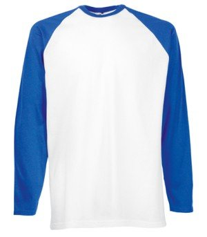 Fruit of the Loom Baseball Langarm ( Longsleeve ) T-Shirt S M L XL XXL weiss/royal,S