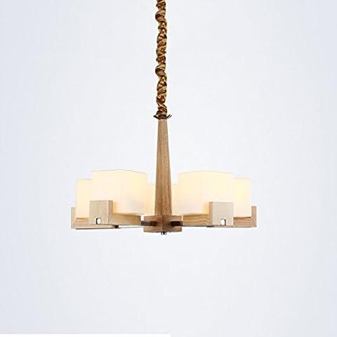 Lustres en bois - American Living Room Lustres en verre 110-220V E27 High: 15.74in ( Size : Five chandeliers 23.62in )