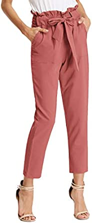 GRACE KARIN Women's Cropped Paper Bag Waist Pants with Poc