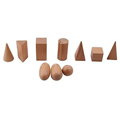 VWH 10 Pcs Montessori Géométrique Solides dans Mystery Bag Cognitive Toys Formes en bois Géométrie Blocs