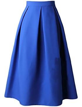 Faldas Mujer Elegantes Cintura Alta Falda Plisada Años 50 A-Line Vintage Moda Color Solido Faldas Midi Falda Medium...