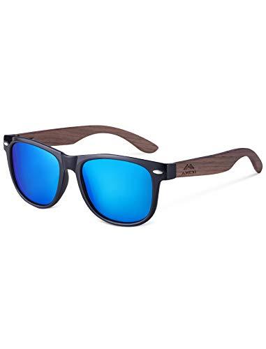 Amexi Herren und Damen Polarisierte Sonnenbrille mit Holzbügeln, UV-Schutz, mit Brillen-Etui, Schraubenzieher, Brillen tuch und Tasche (Blau)