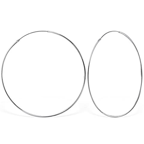 DTPSilver - 925 Sterling Silver Large Hoops Earrings - Thickness