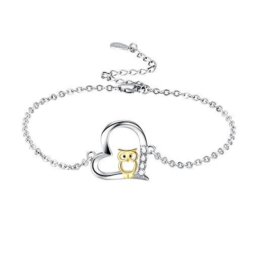 Eule Armband 925 Sterling Silber Cut Eule Verstellbare Armreif Schmuck Geschenke für Frauen Mama Mädchen mit Geschenkbox(Eule-3)