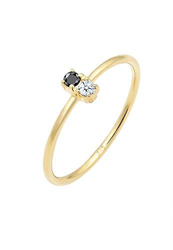 Elli Premium Damen Ring mit schwarzem und weißem Diamant (0.06 ct.) in 375 Gelbgold