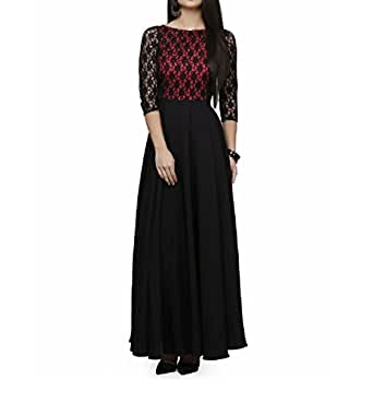 JULEE Women's Lace and Crepe Fabric Gown (M_maroon)
