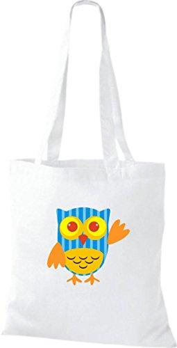 Farbe Tragetasche Eule Bunte Owl Stoffbeutel diverse niedliche Jute ShirtInStyle Retro weiss Xw7tzFxSnq
