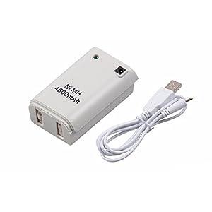 booEy Controller Akku Pack für Xbox 360 4800mAh mit Ladekabel weiss