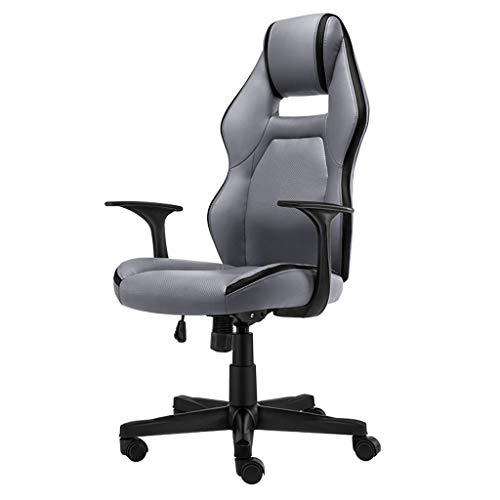 Chaise de Jeu/Chaise de Bureau/Ordinateur, Design Ergonomique, Coussin en éponge Native, matériau pour unité Centrale, Sec et Respirant, adapté aux employés de Bureau, Gris