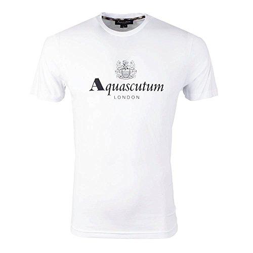Aquascutum Griffin Trade-mark Logo Crew Neck T Shirt Small WHITE