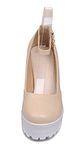 YE Damen Chunky High Heels Blockabsatz Plateau Pumps mit Riemchen 9cm Absatz Schnalle Eelgante Bequeme Schuhe Beige