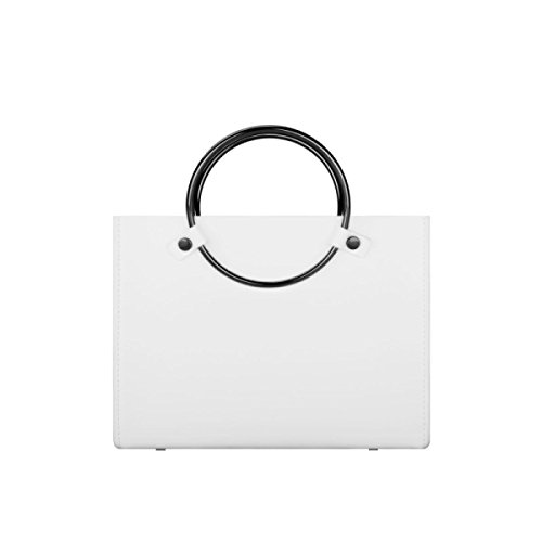Borsetta Donna Retro Anello In Metallo Donna Ladies Nero Bianco Mini Borsa Shopper Lady Casual Campus Messenger White