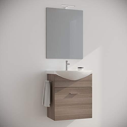 MarinelliGroup Mobile Bagno salvaspazio sospeso 60 Rovere Fumo con lavabo Ceramica Specchio e Luce LED. Ginestra