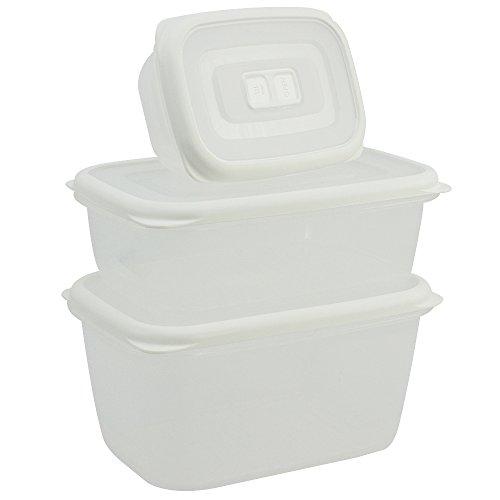 COM-FOUR® Jeu de 3 bidons en plastique, carrés avec couvercle, en 5 couleurs et tailles différentes (03 pièces - blanc)