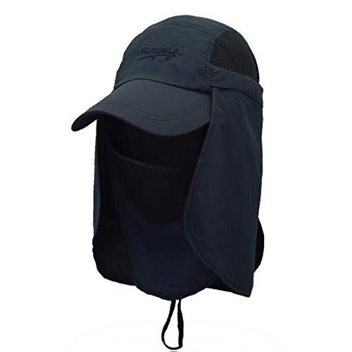 ZRL77y Sonnenhut Sommer UV Jagdhut Strandhut Faltbare Angelhüte Mit Abnehmbarer Klappe Und Atmungsaktivem Netz (Color : Black) - Sonne Blockieren Klappe