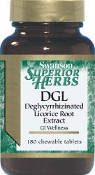 Swanson Superior Herbs DGL (Deglycyrrhizinated Licorice) (385mg, 180 Chewable Tablets) (Superior Swanson Herbs)