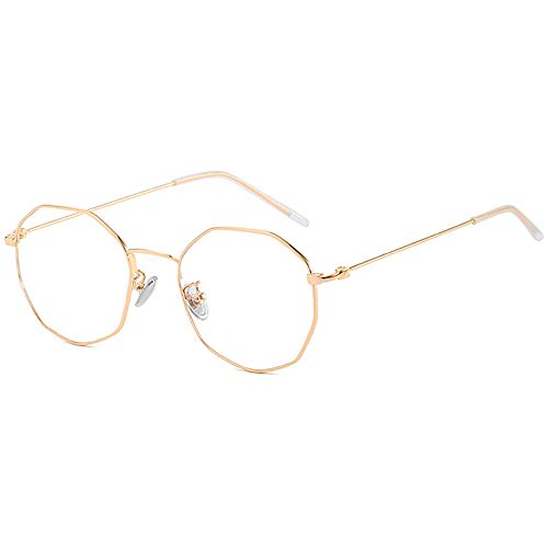 hexagone lunettes Anti lumière bleue lunettes de ordinateurs pour Blocage UV douleur de tête Anti Eye eyestrain cadre en métal or