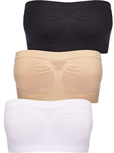 3 Pièces Tube Bra de Femmes Top Bra sans Bretelles Bandeau Extensible Soutien-Gorge Bandeau Bralette Non-Rembourré pour Tenue de Femmes (Jeu de Couleur 1)