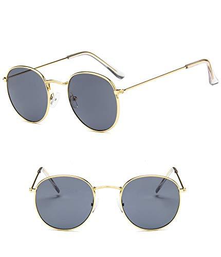 YUHANGH Brille Metall Runde Sunglasse Frauen Kreis Sonnenbrille Weibliche Schwarz Gelb Rosa Rot Objektiv Brillen Eyewear Für Dame