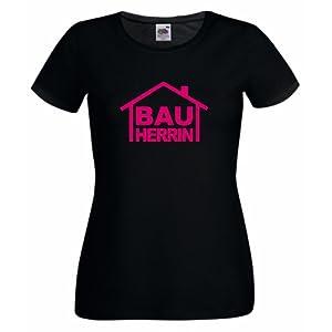 Frauen/Girlie T-Shirt Motiv BAUHERRIN schwarz S