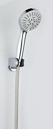 DP Grifería RY-H213+RY-P012+RY-S001 – Mango de ducha con soporte de ducha y flexo incluidos color plateado