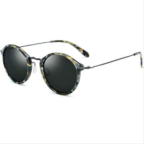 LKVNHP Neue Hochwertige Titanium Acetat Sonnenbrille Männer Mode Polarisierte Sonnenbrille Vintage Runde Sonnenbrille Für Frauen ShadesDark Green Lens