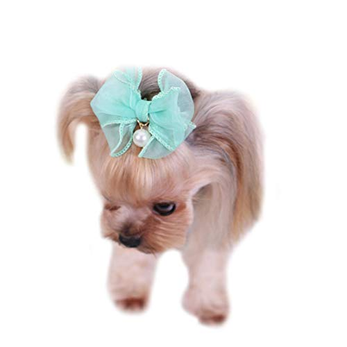 Weirk Pet Spezifische Gummiband Kopfschmuck Hund Schnee Garn Perle Haarnadel Schmuck Pet Kopf Blume