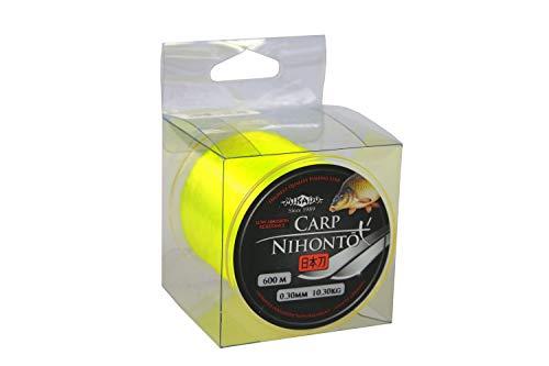 """600m \"""" NIHONTO CARP FLUO \""""gelbe monofile sehr glatte Angelschnur Karpfenschnur Feederschnur erhältlich von Ø0,23 bis Ø0,40mm (Ø0,30mm / Tragkraft 10,30kg)"""