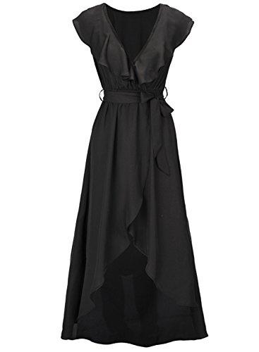 Futurino Femme Robe Longue à Volants Taille Empire Sans Manches Passants pour la Ceinture Black