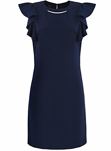 oodji Collection Donna Abito con Decorazione Metallica Blu (7900N)
