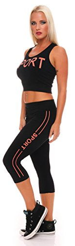 AE - Leggings - Jegging Femme Schwarz Orange
