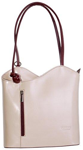 Leder Multi-tasche Rucksack (Primo Sacchi Italienisches Leder handgefertigt Creme und braun Handtasche, Umhängetasche oder Rucksack.Größere Version.Umfasst eine Marke schützenden Aufbewahrungstasche.)