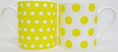 Jaune à pois & pois Set de 2 Mugs Tasses en porcelaine fine Balmoral Jaune décoré à la main au Royaume-Uni Livraison gratuite au Royaume-Uni