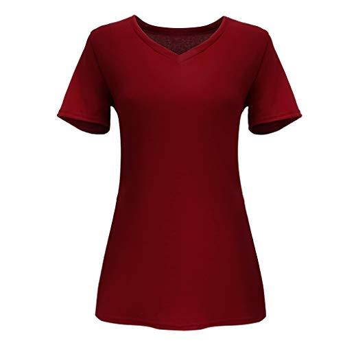 TOPSELD Top Damen, Frauen Sommer Short Sleeve V-Ausschnitt Solide T-Shirt BeiläUfige Lose Oberseiten Bluse