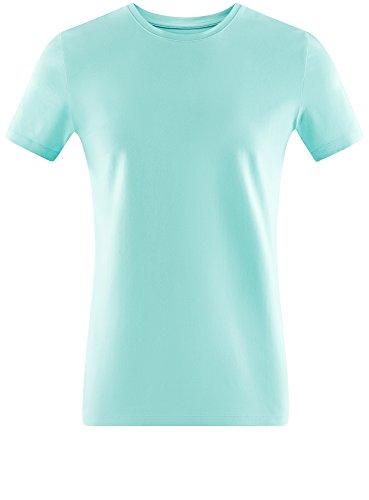 oodji Ultra Herren Tagless T-Shirt Basic Aus Baumwolle Türkis (7301N)