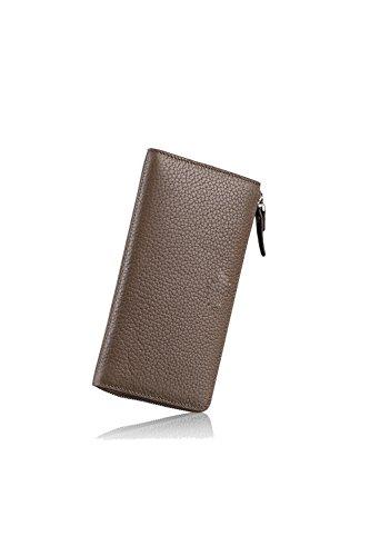 Artmi Unisex in Pelle Morbida Portafoglio Compact Card Case Telefono Portafogli Lungo Stile nero Green Khaki